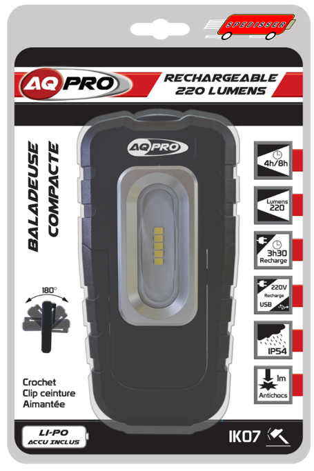 Baladeuse rechargeable 5 LED - 220 lumens