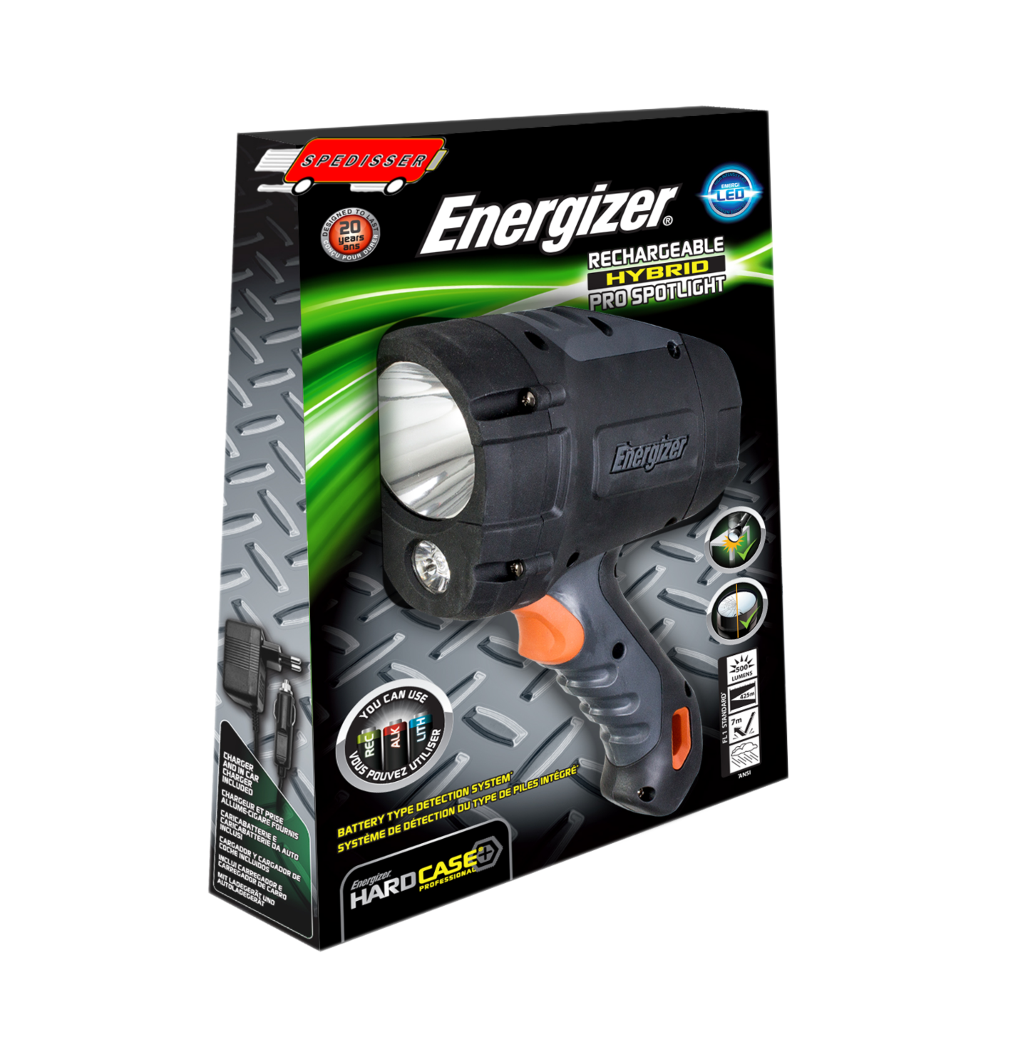 Phare Spotlight rechargeable Energizer + 6 accus R6 + chargeurs