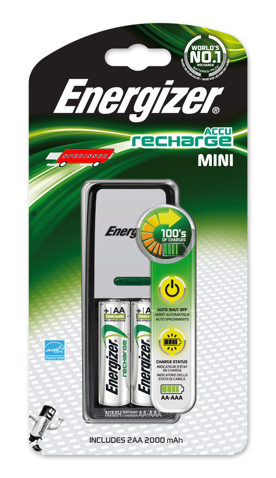 Mini chargeur Energizer + 2 piles AA 700 mAh - compatible AA / AAA